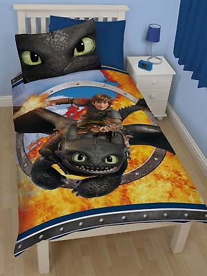 Childrens How to Train Your Dragon 2 Toothless Reversible Single Panel Bed Set