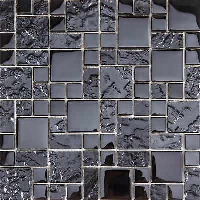 Textured and Smooth Black Glass Mosaic Tile Sheet 300x300x8mm (MT0144)