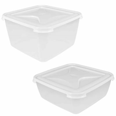 Wham Clear Plastic Food Storage Container Square Box Secure Clip Lid-Space Save