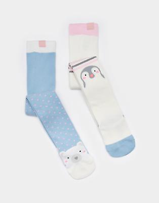 Joules Anikins Character Girls Tights with Ribbed Waistband in Penguin