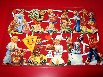 Vintage Style Die Cut  Paper Scraps Colourful/ Children/ New