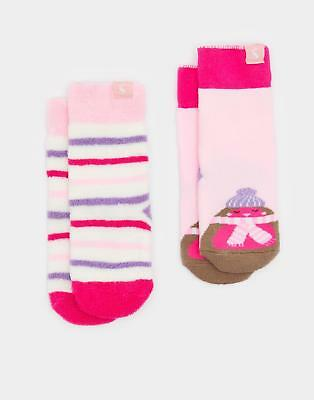 Joules Terry Girls Two Pack Towelling Socks Super Soft Cotton Mix in Rose Pink