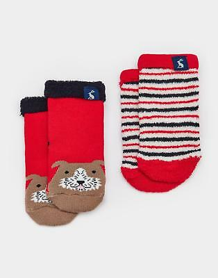 Joules Terry Boys Two Pack Towelling Socks in Soft Cotton/Nylon Mix in Dog