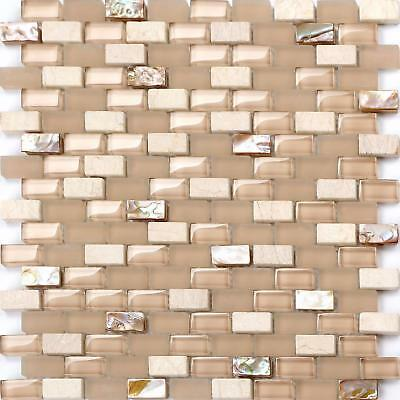 1 SQ M Mother of Pearl, Stone & Glass Mosaic Wall Tile Sheet (MT0147)