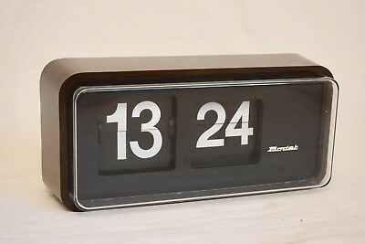 1970s BODET FLIP WALL VINTAGE BROWN ELECTRIC INDUSTRIAL SCHOOL WALL CLOCK