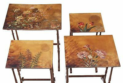 Antique Victorian nest of 4 decorated papier mache side or occasional tables