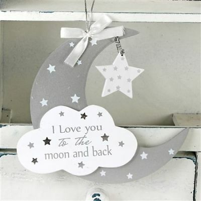 Twinkle Twinkle Baby MDF Moon And Star Hanging Plaque Nursery Child Bedroom