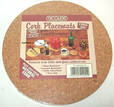 Nicoline Set of 4 Round Natural Cork Dinner Table Placemats 20cm Non-Slip