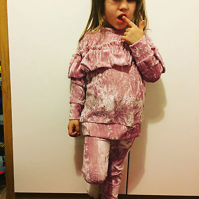 Girls pink frilly crushed velvet lounge suit