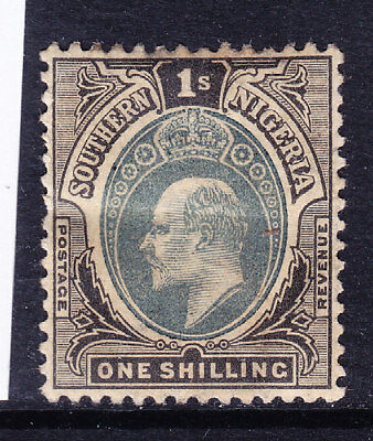 SOUTHERN NIGERIA 1903 EVII SG16 1/- black & green wmk Crown CA m/m. Cat £42
