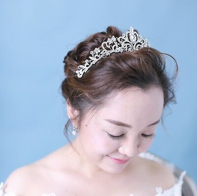 Women Bridal Princess Tiara Crown w/ Comb for Weddings Parties Special Occasion