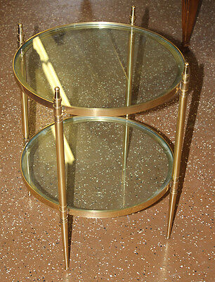 Best Polished Solid HEAVY Brass Round End Occassional French Jansen Table MINT!
