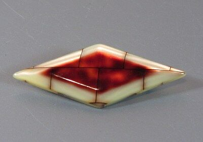 Vintage Laminated Faux Tortoise Shell Geometric Layered Brooches Unsigned