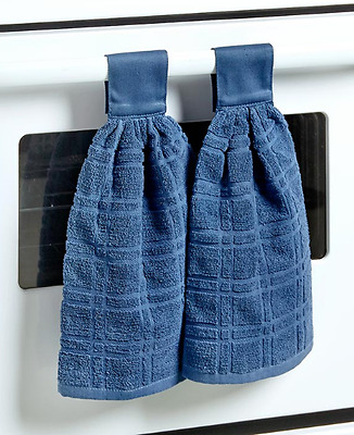 Kitchen Towel With Hanging Loop Hand Towels Oven Dish Cloth Indigo Blue Set Of 2