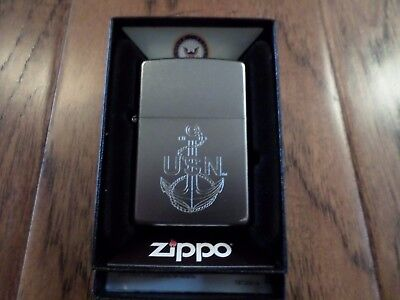 U.s Military Navy Zippo Lighter Chrome With Etched Anchor Official Licensed
