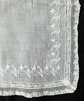 A12 Vintage Embroidered Linen Tulips Lace Floral Hanky Hankies Bridal Wedding
