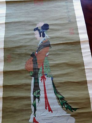 CHINESE Hand Painted INK & COLOR SCROLL, 'Female Attendant', Well Signed