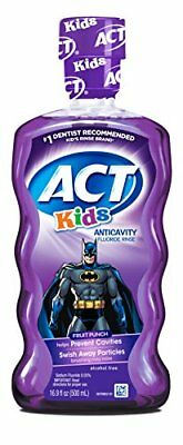 2 Pk Act Kids Anticavity Mouthwash Fluoride Rinse Batman, Fruit Punch 16.9 Oz Ea
