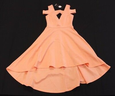 9a5a2631b0c4 boohoo Women's Clea Bardot Plunge High Low Skater Dress Apricot CB4 US:4 NWT