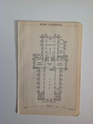 Yorkshire, Plan Of Ripon Cathedral, 1893 Antique Map, Atlas