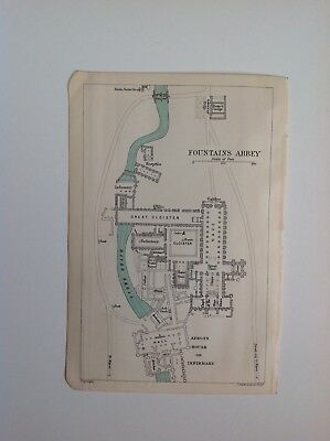 Yorkshire, Plan Of Fountains Abbey, 1893 Antique Map, Atlas