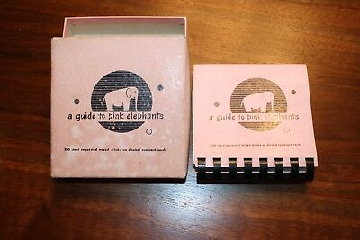 Vintage 1952 A Guide to Pink Elephants 200 Mixed Drinks Recipes, Original Box