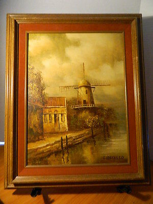 Oil On Canvas Framed I Costello Windmill By The Sea