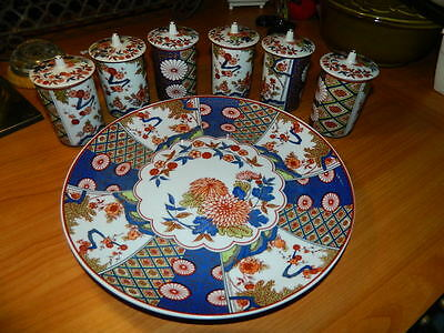 6 tea cups w/ lids & matching plate Chinese Asian floral blue red green