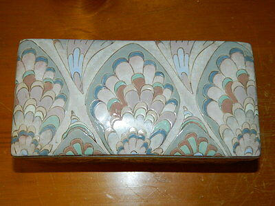 Vintage Ceramic Chinese Rectangle Jewelry Trinket Box Famille Style Vanity