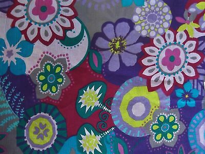 "1 Yd 29.5 Inch Purple Blue Lime Green Floral Fabric 50"" Wide + Free Kids Pattern"