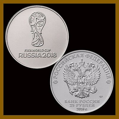 Russia 25 Rubles Coin, 2018 FIFA World Cup, Soccer Commemorative 1st Issue UNC