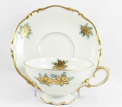 6 Sets Cups & Saucers Hand Painted Heinrich China Footed Gold Blue Cream Floral