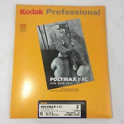"Kodak PROFESSIONAL PAPER  Polymax II RC BLACK AND WHITE  8""X10"" SEALED 25 sheets"