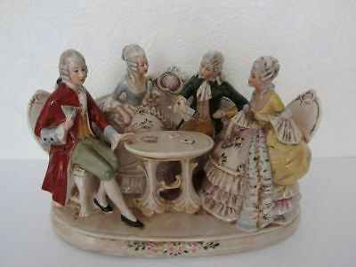 Grafenthal Porcelain: Antique Victorian Figurine 4 People Playing Cards** RARE**
