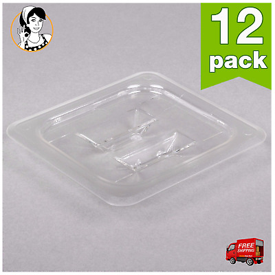12 PACK 1/6 Size PAN LID Clear Plastic Steam Prep Table Food Pan Storage Cover