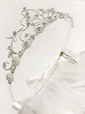 Rhinestone Crown Communion Headband With Veil Wedding Bridal Birthday Tiara 2