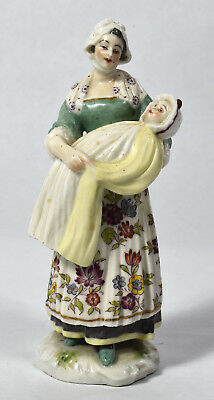 Antique German Porcelain Figurine of Mother holding Infant - Meissen Quality