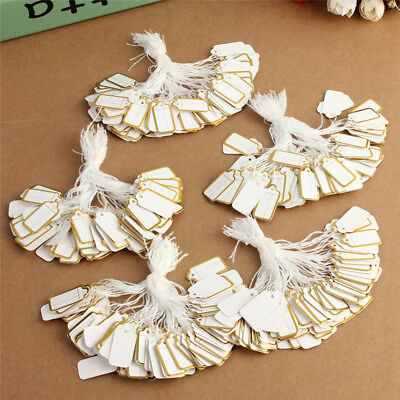 500 Pcs Label Tie String Strung for Jewelry Merchandise Paper Display Price Tags
