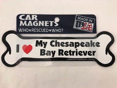 Dog Bone Shaped Car Magnets: I LOVE MY CHESAPEAKE BAY RETRIEVER