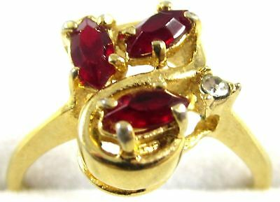 Pretty Vintage Marquise Cut Red Rhinestone Gold Plated Cocktail Ring*Sz 8.75*E87