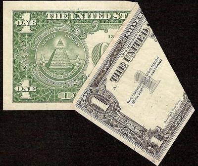 1957 $1 Dollar Fold Over Error Note Missing Sn Silver Certificate Paper Money