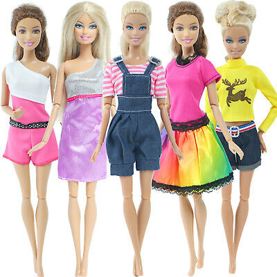 5 Fashion Daily Casual Outfits Floral Blouses Trousers Clothes For Barbie Doll