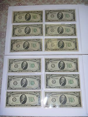 SCARCE  Complete 12PC District Set  $10  1934 (A-B-C-D-E-F-G-H-I-G-K-L )