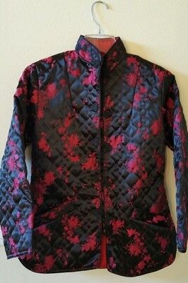 Authentic Chinese Women's Quilted Silk dressy Jacket Black Pink NEW size 6/8
