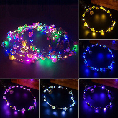 8 Colors LED Flashing Floral Flower Hairband Headband Light-Up Wedding Accessory
