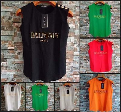 Top Sell Women's Balmain Sleeves Tee Shirt Asian Size Buttons Five Colors Vests