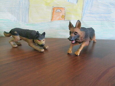 "Lot of 2 German Shepard Dog Figure, rubber Dollhouse size  3.5 - 4.5"" long"
