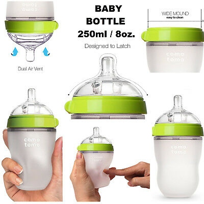 Comotomo Baby Bottle Green 8 oz Made Hygienic Silicone Microwave Dishwasher Safe