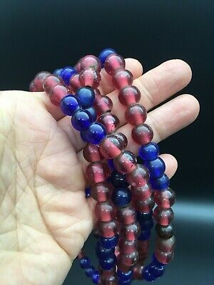 Antike Glasperlen - Large Strand Antique Red Blue Chinese Trade Beads