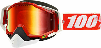 100% Snow Snowmobile RACECRAFT Goggles (Red w/ Dual Pane Mirror Red Lens)